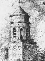 115 Roeland Saverij, Achtkantige toren van de H. Lambertus in Buren, vóór 1614. Pen en aquarel. Darmstadt, Hessissches Landesmuseum, inv.nr. A.E. 961.