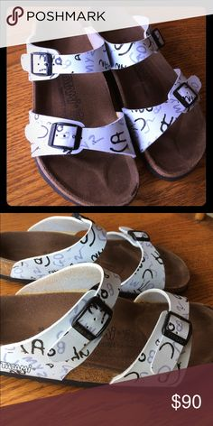 Birkenstocks size 39 White with design Birkenstocks. They have some wear but are in good condition only worn a few times. Birkenstock Shoes Sandals