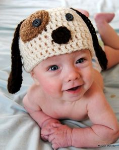crocheted puppy hat! @Jennifer Gonzalez