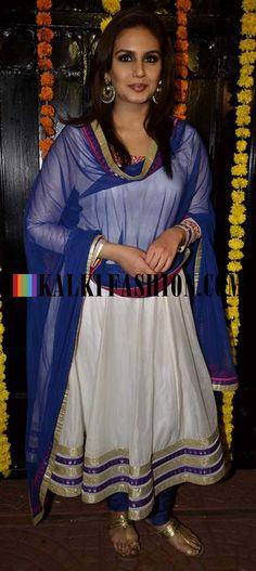 http://www.kalkifashion.com/  Huma Qureshi in a white anarkali suit by SUV at Ekta Kapoor Diwali Bash