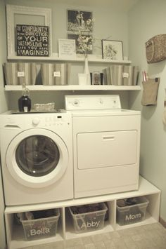 Laundry Room: Beautiful Laundry Room Ideas To Inspire You, Small Laundry Room Idea with White Washers and White Wall Mounted Shelf also Plastic storage compartments and White Wall Paint Color