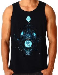 Charged by sunlight and UV, the Angler Glow Tank glows bright in the darkest night. Edm Outfits, Men Store, Muscle Shirts, Summer Tank Tops, Festival Outfits, Mens Tees, Tank Man, Clothes, Dark