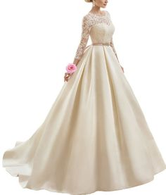 Find More Wedding Dresses Information about Vintage Vestidos De Noiva V Back A line Satin Lace 2016 Newest Wedding Dress with Long Sleeves Wedding Gowns With Sash Bride ,High Quality dress hollywood,China gowns online Suppliers, Cheap gown dresses for sale from Ayaya Dress Shop on Aliexpress.com