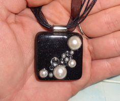 White Pearl Resin Pendant. $15.00, via Etsy.