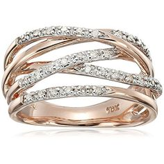 10k Rose Gold Woven Diamond Ring (0.14 cttw, I-J Color, I2-I3 Clarity), Size 6 womens jewelry - http://amzn.to/2j5ojeD