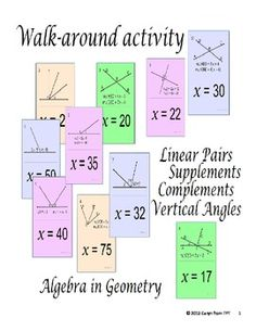 This activity is designed to help students with the linear pairs, supplementary angles, complementary angles, angle addition postulate and vertical angles This activity also gets students up and about.Place the 10 cards on the wall around your room. Students pick any card to begin with.