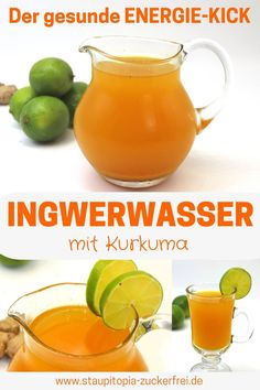 Ingwerwasser mit Kurkuma - Staupitopia Zuckerfrei This healthy ginger water with turmeric is my secret weapon during the cold period. But the mixture of ginger, lime and turmeric is not only ideal for Vinegar Detox Drink, Apple Cider Vinegar Detox, Detox Cleanse For Weight Loss, Weight Loss Smoothies, Cleanse Detox, Detox Tea, Turmeric Detox, Turmeric Water, Ginger Detox