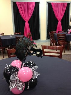 table centerpieces and wall treatment inspiration for sweet 16 masquerade