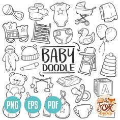 Baby Nursery Traditional Doodle Icons Sketch Hand Made Design Vector Nursery Drawings, Doodle Drawings, Doodle Sketch, Sketch Art, Doodle Baby, Baby Journal, Pregnancy Journal, Pregnancy Quotes, Baby Icon