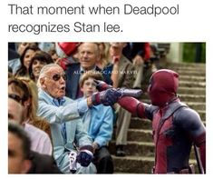 therealjacksepticeye: the-hoody-geek: Stan Lee's cameo in Deadpool looks hype as fuck YESS! All I want is Deadpool to recognise Stan Lee for who he is and destroy that wall! Marvel Dc Comics, Films Marvel, Marvel Funny, Marvel Heroes, Marvel Avengers, Dead Pool, Xmen, Stan Lee Cameo, Marvel Cinematic Universe