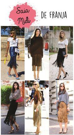 Saia midi de franja. Mais modelos em: http://helendutra.com/saia-de-midi/