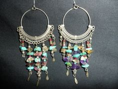 Hey, I found this really awesome Etsy listing at https://www.etsy.com/listing/231717260/vintage-gypsy-gemstone-dangle-earrings