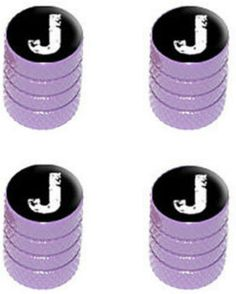 """Amazon.com : (4 Count) Cool and Custom """"Diamond Etching White Letter J Top with Easy Grip Texture"""" Tire Wheel Rim Air Valve Stem Dust Cap Seal Made of Genuine Anodized Aluminum Metal {Periwinkle Lamborghini Purple and Black Colors - Hard Metal Internal Threads for Easy Application - Rust Proof - Fits For Most Cars, Trucks, SUV, RV, ATV, UTV, Motorcycle, Bicycles} : Sports & Outdoors"""