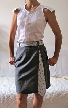 Refashioned men's shirt and skirt spliced with tie.