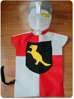 Knight Costume from felt sheets w/ milk jug helmet
