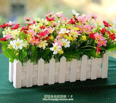 20% off ! Idyllic rural 30cm white picket fence decorated floral roses simulation Packs(China (Mainland))