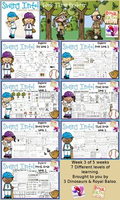 FREE Swing Into Summer Learning: Week 3 Explorer - 5 days of activities with 7 levels of learning: Tot, PreK, Kinder, First Grade, Second Grade, Third Grade and Fourth Grade - including math, language, abcs and more - 4 pages of printables for each day  - http://3Dinosaurs.com & http://RoyalBaloo.com