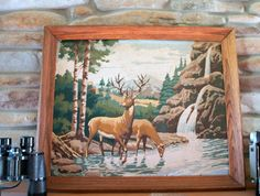 60s Large Vintage Deer Paint By Number // Pbn // Framed // Painting // Trees…