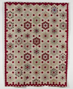 Turkey Red Hexagon Rosettes Coverlet. Maker unknown