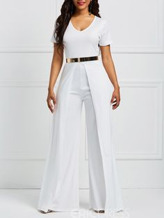 Ericdress Wide Leg V Neck Plain Women's Jumpsuit Ericdress Wide Leg V Neck Plain Women's […] The post Ericdress Wide Leg V Neck Plain Women's Jumpsuit appeared first on How To Be Trendy. African Fashion Dresses, African Dress, White Outfits For Women, Clothes For Women, Fall Fashion Outfits, Classy Dress, Jumpsuits For Women, Ideias Fashion, Wide Leg