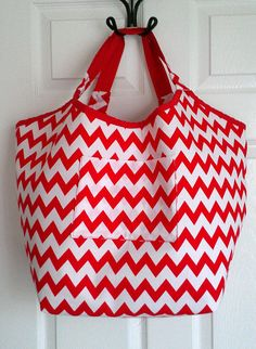 Red and White Chevron Oversized Tote Beach by KraftsbyViktorija, $38.00