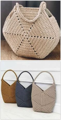 Free Crochet Bag, Mode Crochet, Crochet Purse Patterns, Crochet Basket Pattern, Easy Crochet, Crochet Top, Crochet Handbags, Crochet Purses, Crochet Doilies