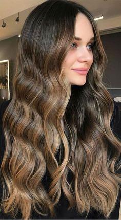 Brown Hair Balayage, Brown Blonde Hair, Hair Color Balayage, Brunette Hair, Hair Color Streaks, Hair Colour, Hair Highlights, Aesthetic Hair, Brown Hair Colors