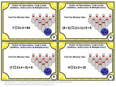 FREE Addition, Subtraction & Multiplication Task Cards - These Order of Operations task cards are a great alternative to worksheets!