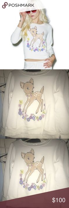 🆕 Wildfox vintage cute Bambi deer sweatshirt S Wildfox vintage Bambi deer sweatshirt size small . This sweatshirt has warm comfy material and relaxed fit. Featuring the cutest doe deer with flowers . It has a slightly cropped hemline & band trim. This is a brand new sweatshirt with no tags . (I order it online ) any questions about this please ask. 70% cotton , 30% polyester. Machine cold wash. I am looking to get the same price I paid. Price is firm . Wildfox Tops Sweatshirts & Hoodies