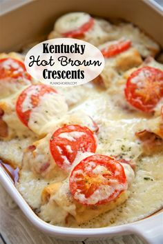 Kentucky Hot Brown Crescents - turkey and bacon wrapped in crescent rolls and topped with a tomato slice and a homemade swiss cheese sauce and baked. Perfect for you Kentucky Derby party or a delicious lunch or dinner! Crescent Roll Recipes, Crescent Rolls, Turkey Lunch Meat, Turkey Bacon, Chicken Bacon, Kentucky Derby Food, Kentucky Derby Party Ideas, Derby Recipe, Great Recipes