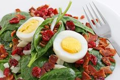 Wilted Spinach Salad with bacon and hard boiled eggs.