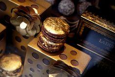 Gold-foiled macaron, from Laduree