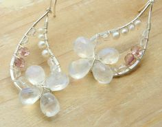 Moonstone Earrings Drop Earrings White Flower Silver Earrings Bridesmaid Earrings June Birthstone