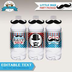 Editable Little Man Mustache Bash Baby Shower - Water Bottle Labels, Mustache Cutout  -  Moustache Printable PDF on Etsy, $4.95