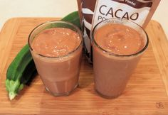 CHOCOLATE ZUCCHINI SMOOTHIE :: 2 cups frozen zucchini (sliced, cubed or grated) 1 med frozen banana 1/4 cup cocoa powder 2 cups unsweetened almond milk stevia powder or other sweetener to taste