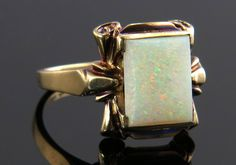 Vintage Antique Estate Baskin Brothers 1.75ct Genuine Opal 10K Gold Art Deco Ring 3.2g by EstateAntiqueJewelry on Etsy https://www.etsy.com/listing/291100531/vintage-antique-estate-baskin-brothers