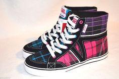 VANS Corrie Hi Top Girls Skate Shoes Keds Size 11 12 13 1 2 3 4 Leather  Canvas  VANS  Athletic 4853dea69