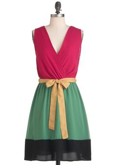 Surprise Balloon Ride Dress - Mid-length, Multi, Yellow, Green, Pink, Black, Color Block, A-line, Sleeveless, Spring, Belted, Casual, Colorblocking
