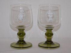 Vintage Austrian Cellar Wines 1/8 L Wine Tasting Glasses Weingutesiegel Green #AustrianCellarWines
