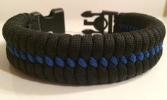 SALE! Police Blue Line Wide Fishtail Paracord Bracelet with Handcuff Key Buckle (See Description For Size Instructions)