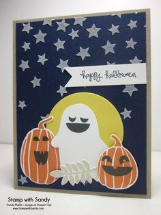 Stamp Sets: Fall Fest, Good Greetings Card Stock: Night of Navy, Whisper White, Crumb Cake, Daffodil Delight Ink Pads: Memento Tuxedo Black, Tangerine Tango, Crumb Cake Tools: Big Shot, Circles and Fun Fall Framelits, Hearts & Stars Masks Other: Liquitex Light Modeling Paste