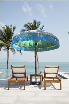 Designer Garden Umbrellas and Beach Parasols. Amazing luxury, bright colours and patterns. Ideal for Weddings, city patio gardens and the beach.