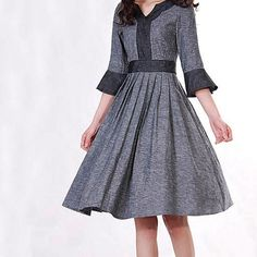 Elegant grey linen dress by xiaolizi on Etsy -- adore the sleeves. :)