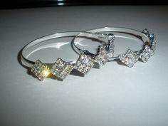 """Silver Plated Rhinestone Hoop Earrings  2-1/4""""  X 8MM Lever Back  #Hoop"""