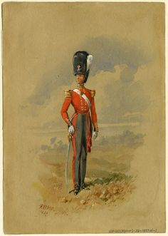 Scots Guards, Officer, 1837 by Reginald Augustus Wymer Military Art, Military Uniforms, British Uniforms, Edwardian Era, British Army, Napoleon, 18th Century, Red And Blue, Red Coats
