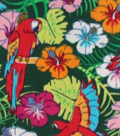 Tropical Fabric- Large Parrot Floral Multi Fleece Online Craft Store, Craft Stores, Tropical Fabric, Fabric Material, Parrot, Floral, Creative, Crafts, Painting