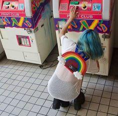 Rainbow #fashion #coloredhair #bluehair #rainbow #kawaii #colorful #japan #L4L #followback #instafollow #F4F