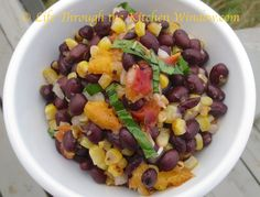 Black Bean Salad with Grilled Corn & Peaches │ © Life Through the Kitchen Window.com Bean Salad, Black Beans, Peaches, Fruit Salad, Salads, Window, Kitchen, Life, Food