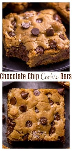 Easy Chocolate Chip Cookie Bars Easy Chocolate Chip Cookie Bars are thick, chewy, and basically foolproof! A great bar recipe that bakes up in less than 30 minutes! If you're serving a crowd, simply double the recipe and bake it in a 9 x 13 pan! Desserts With Chocolate Chips, Easy Chocolate Chip Cookies, Chocolate Chip Cookie Bars, Semi Sweet Chocolate Chips, Mint Chocolate, Chocolate Chip Recipes Easy, Chocolate Chip Cookies Ingredients, Dessert Chocolate, Baking Recipes