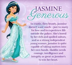 Jasmine and her character traits: GENEROUS